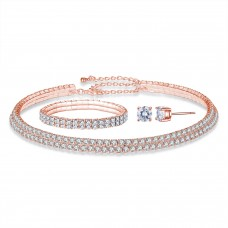 Rose Gold Double Row Tri-Set Made with Crystals From Swarovski®