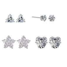 Set of Four Crystal Stud Earrings