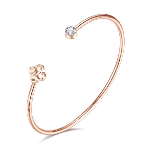 Diamond and Swarovski® Flower Bangle CTTW 0.515