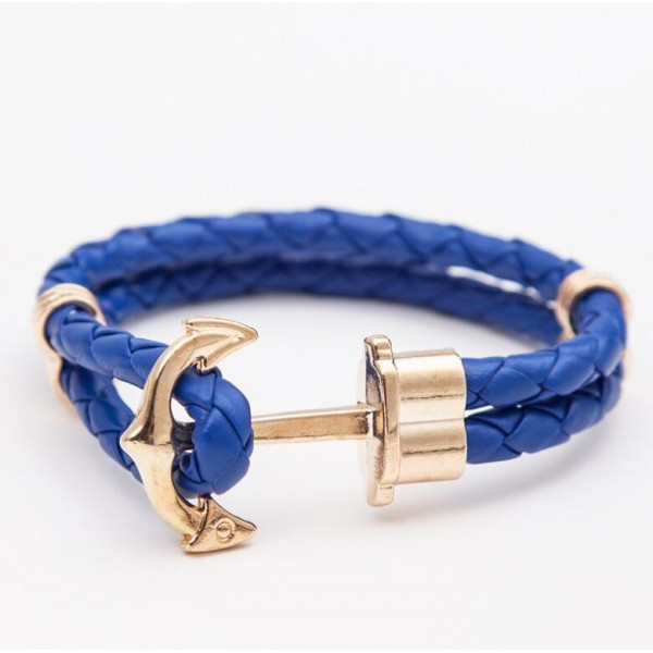 Nautical Anchor Double Leather Band Bracelet