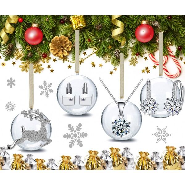 Set of Xmas Baubles with Crystals from Swarovski® Gifts
