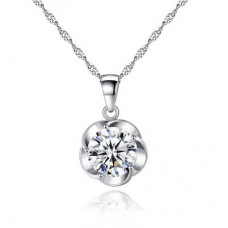 Crystal Solitaire Flower Pendant Made with Crystals from Swarovski®