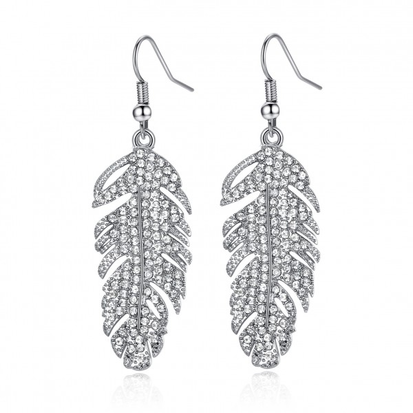 Rhodium Plated Feather Drop Earrings Made with crystals from Swarovski®