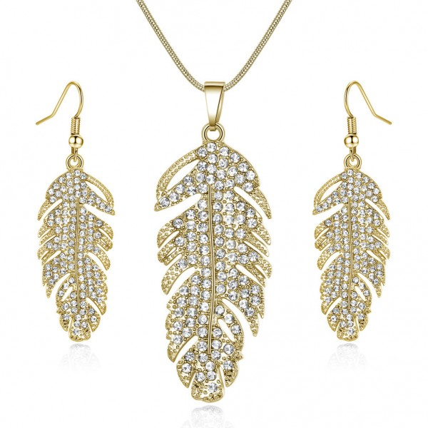 FEATHER DROP EARRINGS & PENDANT SET Made with Crystals from Swarovski®