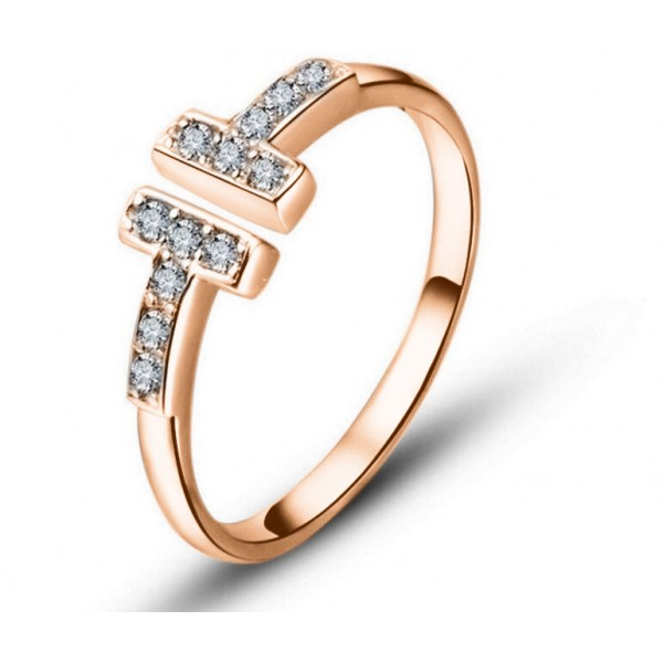 Adjustable Rose Gold Crystal T-Ring