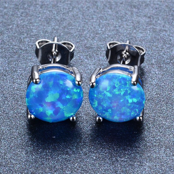 Blue Opal Gemstone Stud Earrings