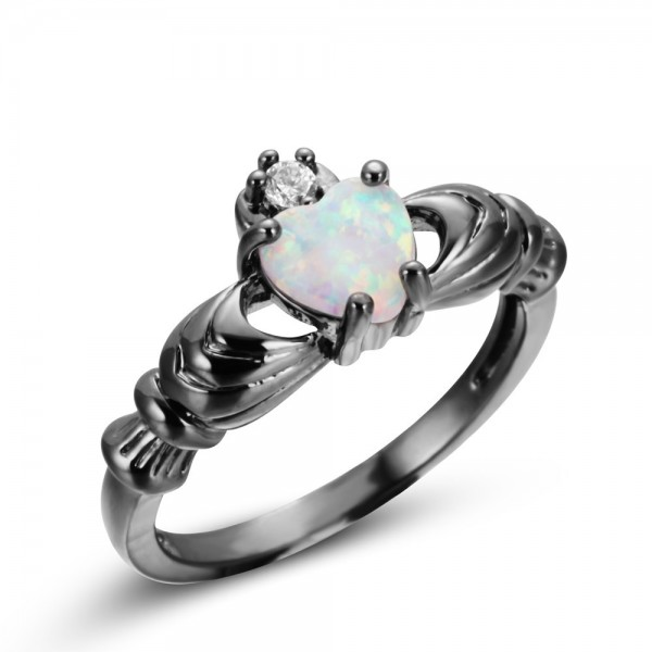 Heart Cut Opal Gemstone Ring