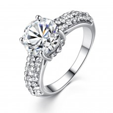 SOLITAIRE CRYSTAL CLUSTER BAND RING Silver