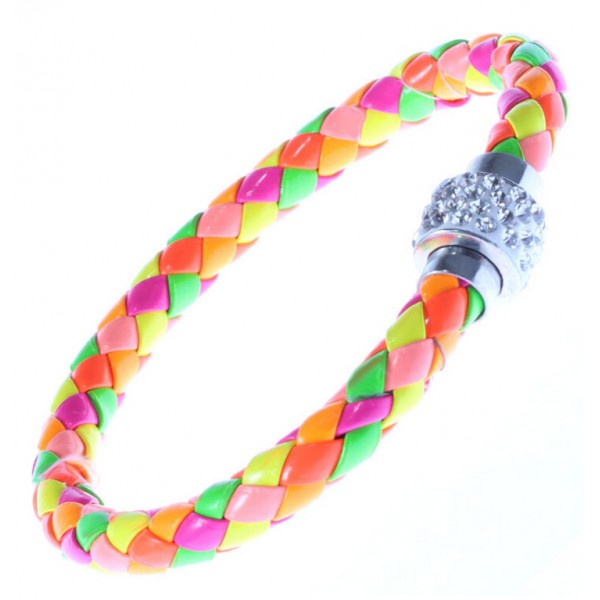 Rainbow Leather Crystal Clasp Bracelet