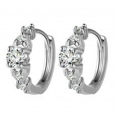 Crystal Solitaire Cuff Earrings