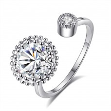 Crystal Adjustable Solitaire Ring Made with Crystals from Swarovski®