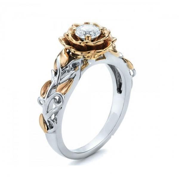 Luxury Rose & White Gold Filled Ring