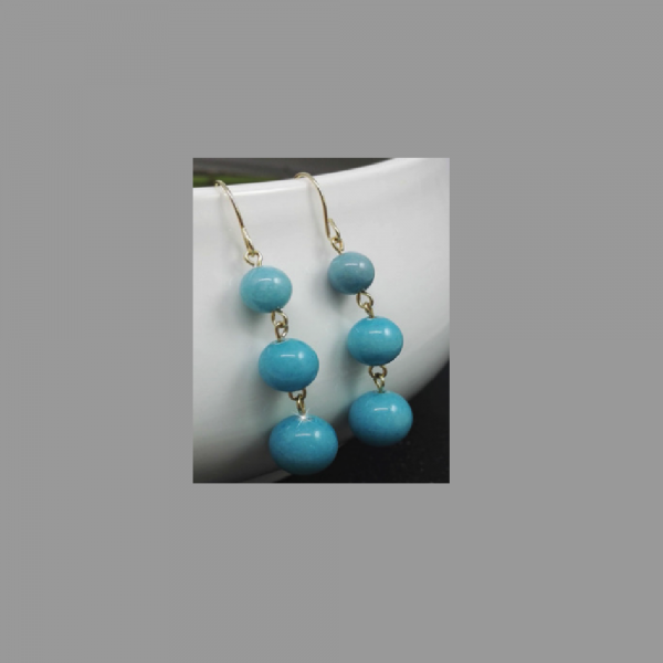 Blue Ball Drop Earrings