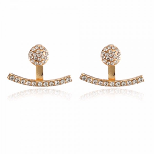 Crystal Curved Jackets Earrings