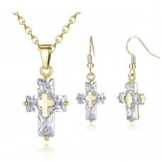 Gold Crystal Cross Set