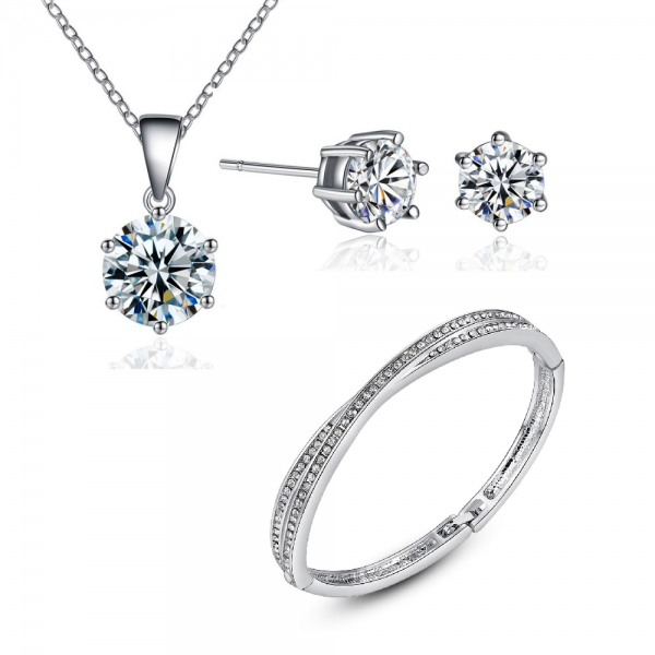 CROSS BANGLE SOLITAIRE SET MADE WITH CRYSTALS FROM SWAROVSKI®