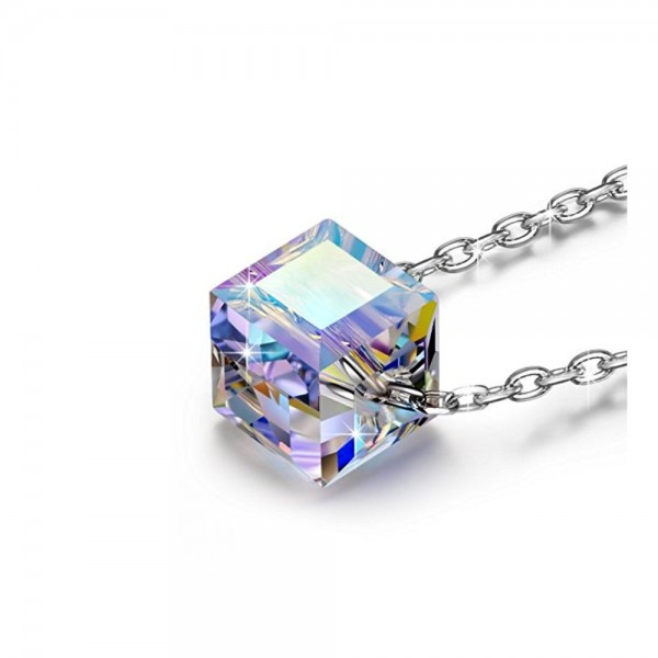 Crystal Cube Pendant Made with Crystals from Swarovski®