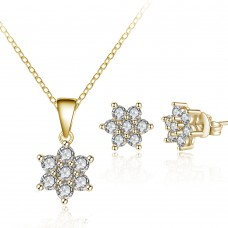 Gold Crystal Flower Set