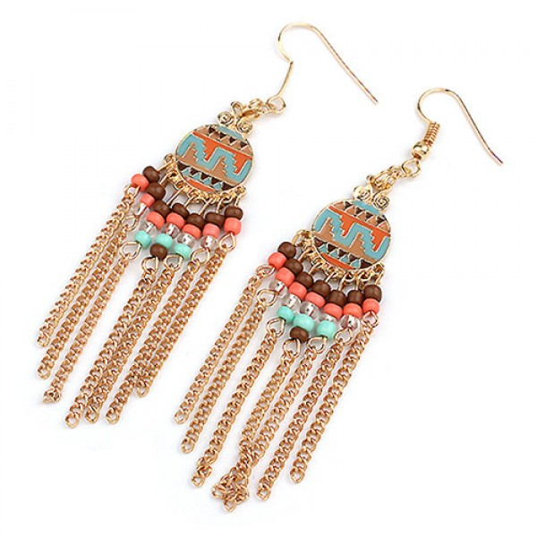 Gold Mini Statement Aztec Earrings