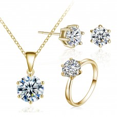 GOLD CRYSTAL SOLITAIRE TRI-SET WITH CRYSTALS FROM SWAROVSKI®