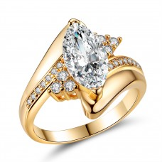 Marquise Cut Crystal Cluster Band Ring
