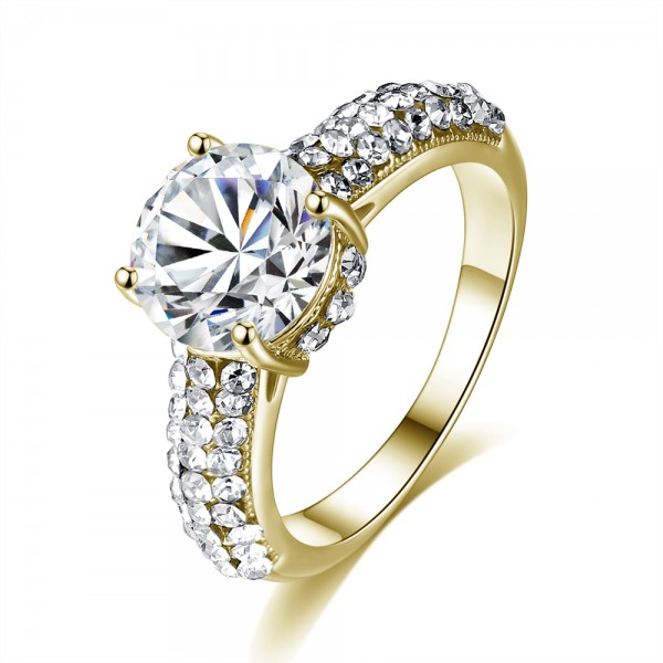 Solitaire Crystal Cluster Band Ring