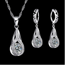 Geometric Crystal Drop Sterling Silver Set