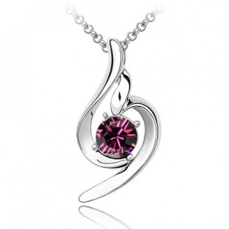 Purple Swirl Rhodium Plated Ring Pendant Made with Czech Crystals
