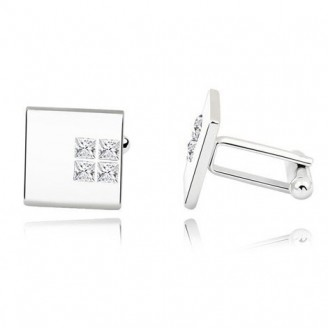 Rhodium Plated Cufflinks Made with Cubic Zirconia Crystals