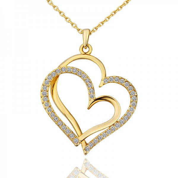 Gold plated Twin Heart Pendant Made with Czech Crystals