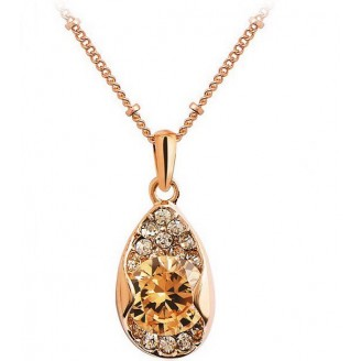 Large Rose Gold plated Solitaire Amber Leaf Pendant with crystals from Swarovski®