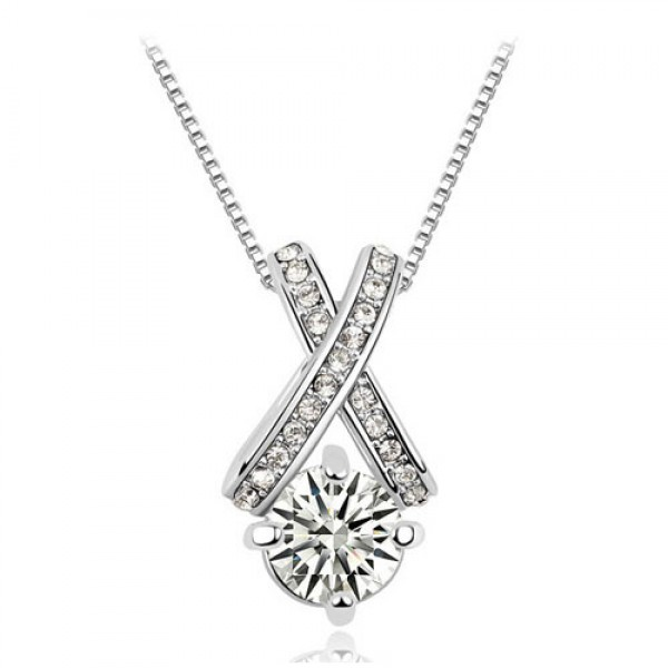 Rhodium PlatedSolitaire Cross Pendant Made with Czech Crystals