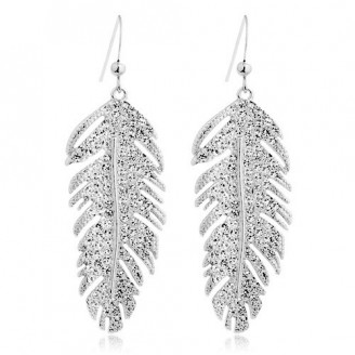 Rhodium Plated Feather Drop Earrings with crystals from Swarovski®