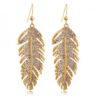 18k Rose Gold Plated Feather Drop Earrings with crystals from Swarovski®