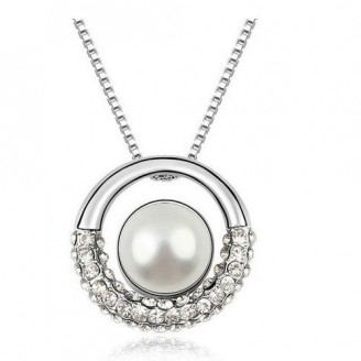 Rhodium PlatedPearl Ring Pendant Made with Cubic Zirconia Crystals
