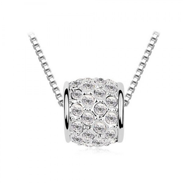 Rhodium PlatedBarrel Pendant with crystals from Swarovski®