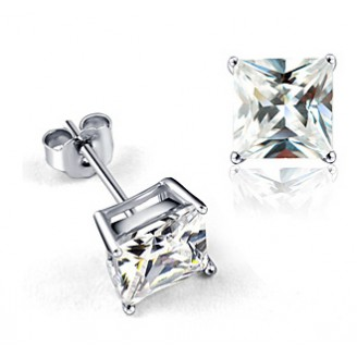 Square Crystal Solitaire Earrings & Rhodium Plated Made with Cubic zirconia