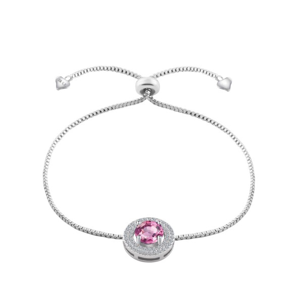 Rhodium Plated 2 Carat Brilliant Cut Pink Lab-Created Sapphire Bracelet