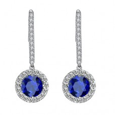 Long Stem Blue Crystal Earrings