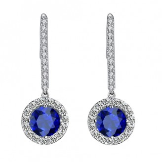Long Stem Blue Crystal Earrings