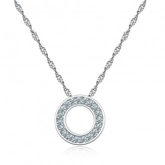 Halo Pendant with Swarovski® Clear/Pink Colour