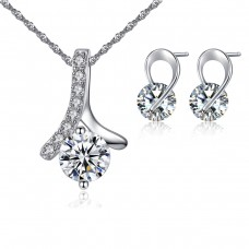 Ribbon Style Crystal Solitaire Set