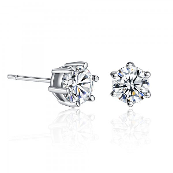 Solitaire Earrings with Rhodium Plating Made with crystal from SWAROVSKI®