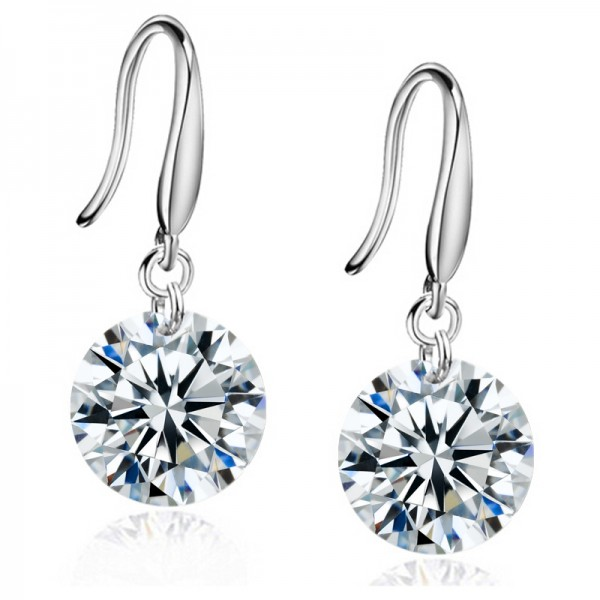 Rhodium Plated 8mm Drop Earrings with crystals from Swarovski®