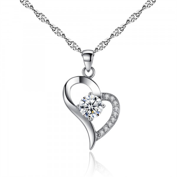 HEART SHAPED CRYSTAL & RHODIUM PLATED PENDANT WITH CRYSTALS FROM SWAROVSKI®