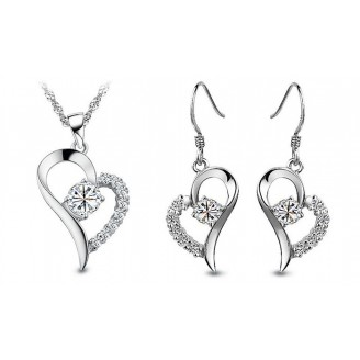 Heart Shaped Crystal & Rhodium Plated Plating with crystals from Swarovski®