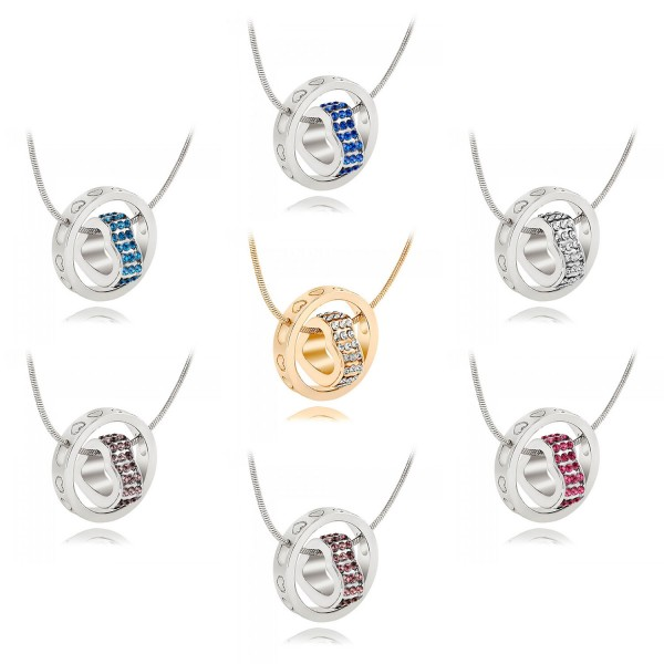 Crystal Heart  & Rhodium Plated Ring Pendant with crystals from Swarovski®