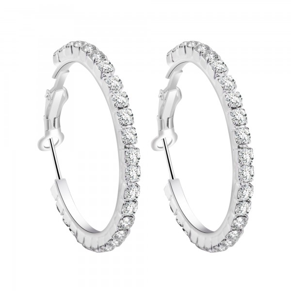 Crystal Hoop Earrings with Cubic zirconia