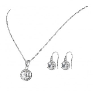 Solitaire Pendant & Drop Earrings Set with crystals from Swarovski®
