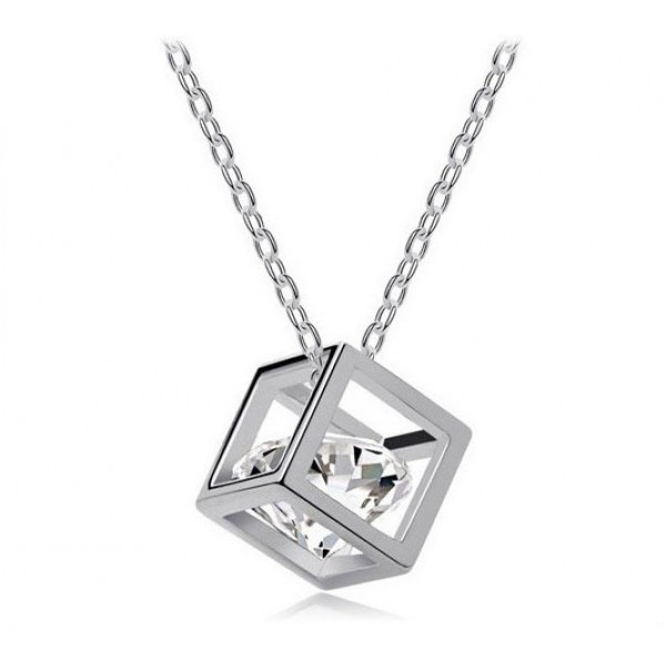 Rhodium Plated Crystal Cube Pendantwith crystals from Swarovski®